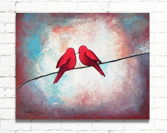 Valentines Day Gift Love Birds on a Wire Wall Decor Red Birds Painting Wall Art Wedding Anniversary Gift 16x20