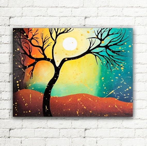 Sale colorful wall art canvas tree painting by hjmartgallery for What kind of paint to use on kitchen cabinets for ready to hang canvas wall art