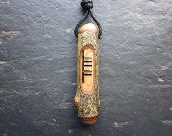Natural Wood Ogham Pendant or Mini Wand - English Ash/Nion - Banishes Mental Strife.
