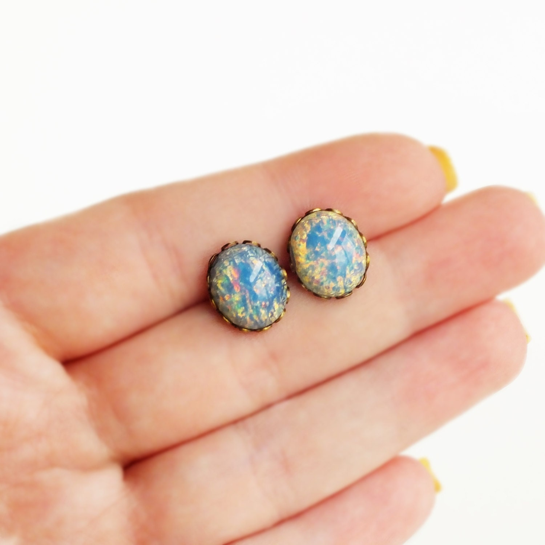 blue opal stud earrings vintage blue fire opal post. Black Bedroom Furniture Sets. Home Design Ideas