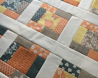 """Quilt Top - Unfinished baby sized quilt - Moda Metro - Autumn Woods by K&B - bright and fun  38"""" x 38"""""""