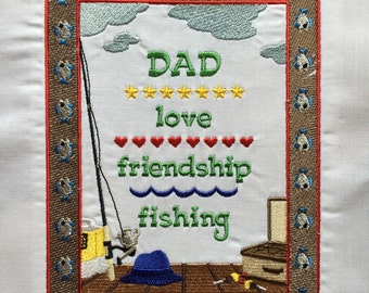 Father / Dad - embroidered quilt block - ready to sew or frame 9.5 inch x 12 inch