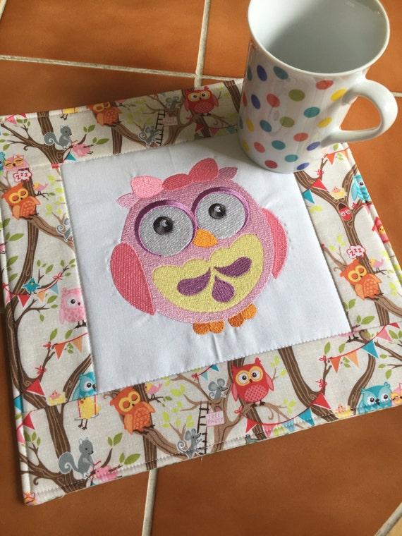 Pink owl embroidered mug rug / over-sized coaster / Riley Blake