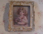 Dollhouse picture, tatty chic, miniature picture, gold trimmed picture, picture of  Child. a dollhouse miniature, twelth scale