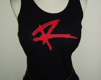 Red Rocker Sammy Hagar Band Concert Rhinestone Crystal Glitter  Tank Top Tee Shirt bling