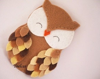 Personalized owl ornament - felt owl ornament - felt Christmas ornament - Christmas ornament - Shades of brown owl 2017