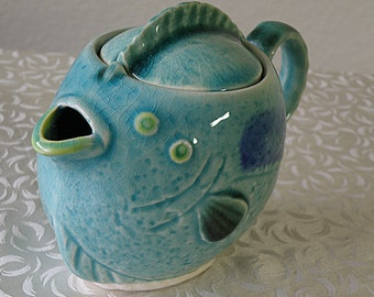 adorable FLAT FISH TEAPOT for display only