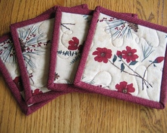 Quilted Coasters with Red Flowers, Pine Sprigs and Pinecones - Set of 4