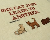 One cat just... Hemingway quotation, cats cross stitch pattern. Instant download PDF.