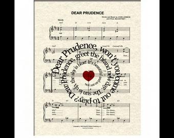 Dear Prudence by The Beatles Song Lyric Sheet Music Art Print, Beatles Music Art, Spiral Song Lyric Art, Names and Date Art, Custom, Nursery