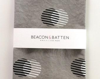 Stripe Circle Towel : Dove Ground - Black/White Print
