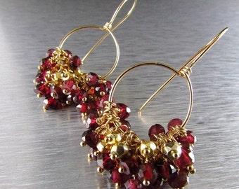 20 % Off Rhodolite Garnet and Gold Filled Cluster Earrings