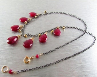 BIGGEST SALE EVER Multi Stone Ruby Mixed Metal Necklace
