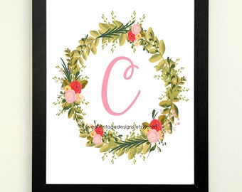 Letter C Printable, 8x10 Instant Download, Baby Girl Nursery Art, Nursery Decor, Floral Monogram, Letter Art, Baby Gift, Baby Shower Gift