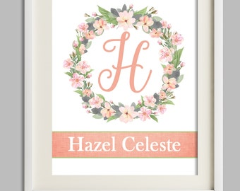 Girl Nursery Wall Decor, Personalize Baby Gift, Name Print, Baby Girl Nursery Wall Art, Girl Room Decor, Peach Pink Coral Nursery Art