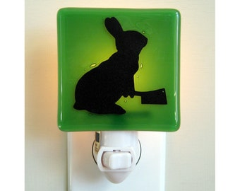 Funny Rabbit Night Light - Hand Painted Fused Glass - Humor