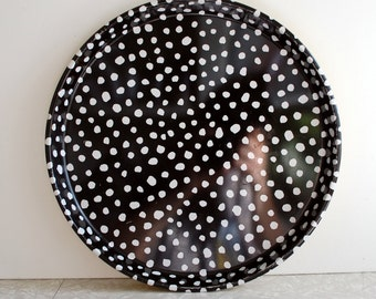 80s polka dot tray by dept. 56, black and white and yellow tray, serving tray, pop art pattern, home decor accent, bold and bright, metal