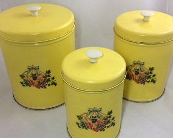 Vintage Yellow Tin Canister Set of 3