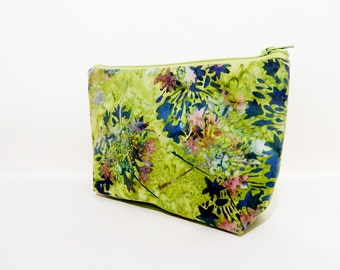 Batik Pouch, Fabric Pouch, Cosmetic Pouch, Medium Pouch, Zipper Pouch, Green Pouch, Gift for Her, Teacher Gift, Floral Pouch, Green Batik
