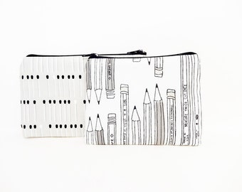 Pouch, Retro Pouch, Coin Purse, Change Purse, Zipper Pouch, Cute Pouch, Gift for her, Cotton Steel Black & White Graphic Pencil Typewriter