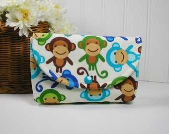 Monkey Snap Pouch, Snap Pouch, Large Snap Pouch ... Urban Zoologie Monkeys in Royal Blue and Aqua