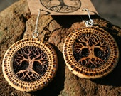 Wood Tree of Life Earrings- in  Juniper, Hemlock and Black Walnut - Wooden Jewelry,