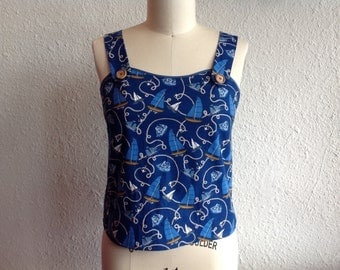 SALE Nautical print cotton tank top Sz Medium