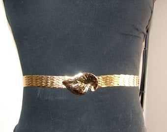 Small Golden Scales Elastic Belt - Gold Leaf Detail - Costume/ Statement Piece