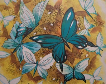 Vintage 1950s Gift Wrap All Occasion Butterflies on Yellow - 1 Sheet  & 1 Matching Tag Vintage Gift Wrapping Paper