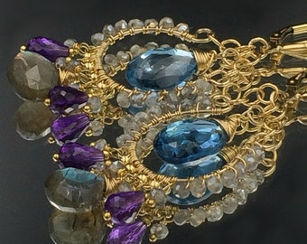 London Blue Topaz Chandelier Earrings, Wire Wrap Gold Fill Handmade Amethyst, Labradorite Leverback, Gift for Her, Fall Fashion