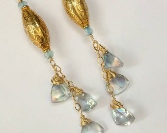 Blue Topaz Dangle Earring Wire Wrap Gold Fill Mystic Blue Topaz Quartz Handmade Gem Dangle Earring Blue Tassel December Birthstone