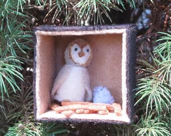 Barn owl  Molly miniature felt play set, stuffed toy,plush, animal