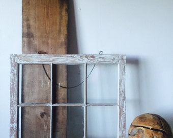 vintage window painted distressed glass wall art