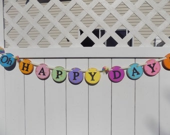 Congratulations Sign-Oh Happy Day Banner-Graduation Banner-Wedding Banner-Wedding Photo Prop-Engagement Photo-Happy Birthday Banner-New Baby
