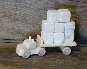 Handmade Wooden Toy Block Truck with 8 Blocks Wood Toys Waldorf Kids Boys Childs Birthday Gift Present Fun