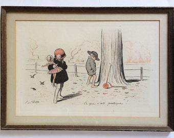 Vintage Lithograph Print of Original Art Charcoal Pastel Drawing George Redon Ce Que C'est Pratique Vintage French Fine Art