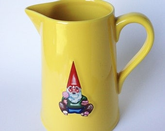 Large Gnome Ceramic Pitcher, Kiss That Frog Large Vintage French Gnome with Candy, Yellow Pottery Stoneware