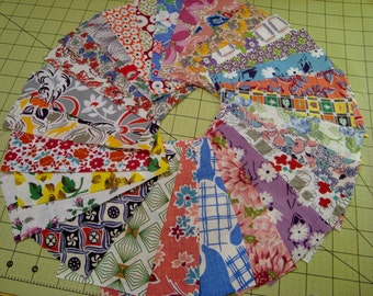 28 Vintage Feedsack Quilting Fabric All Different  Feed Sack Flour Sack  6 inches by 3 inches