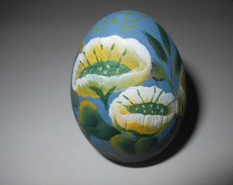 Hand Painted Wooden Egg Yellow Poppies