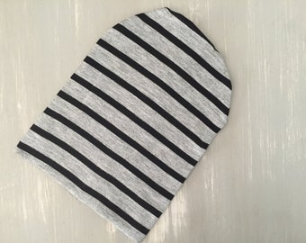 Slouch beanie, baby beanie, black/gray striped hat