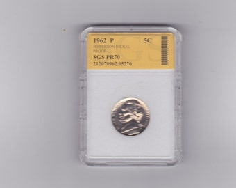 1962 P Jefferson proof nickel graded PR70 S.G.S.