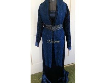 Edwardian Titanic style dress Victorian  midnight blue 3 pc ensemble costume  unique