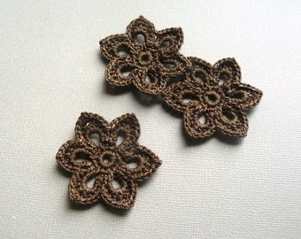 3 Crochet Flower Appliques -- 2 inch Diameter, in Chocolate Brown