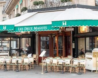 Cafe Deux Magots, St Germain des Pres, Paris Photography, Paris cafe in green, Restaurant in Paris, Paris Home Decor
