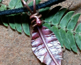 LEAF Necklace in Pure Copper - Red Autumn - Hand-Forged and Flame Kissed for Color - Ready to Ship