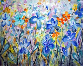SALE ORIGINAL Canvas Painting Flowers Garden, Modern Art on Canvas, Whimsical Floral, Iris Flowers Painting 20x16
