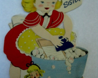 Vintage Used Birthday Card For Sister With Cute Young Girl Washing Her Doll's Clothing, Arms Move
