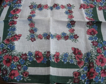 Vintage Hanky With Pink, Maroon and Blue Floral Design All Around Center And In Corners