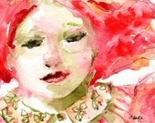 """Red Haired Woman - Watercolor Portrait - Original Painting With Mat - 5"""" x 7"""" - """"Spring"""""""