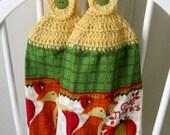 2 Crocheted Autumn Hanging Kitchen Towels - Thankful Fox